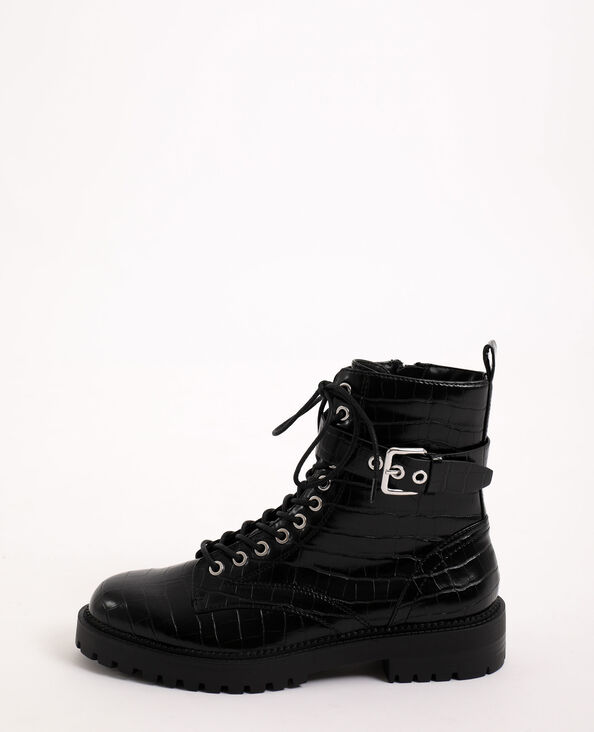 Boots rock in finta pelle nero