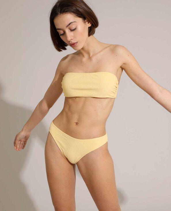 Slip di costume da bagno a coste giallo pallido