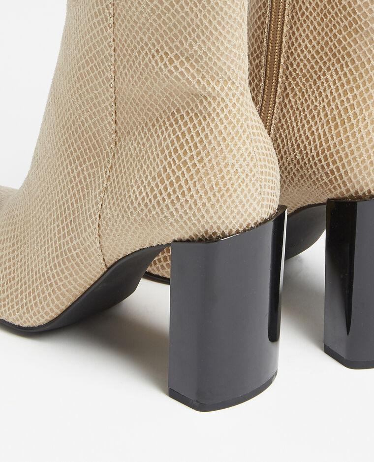 Stivali con tacco beige