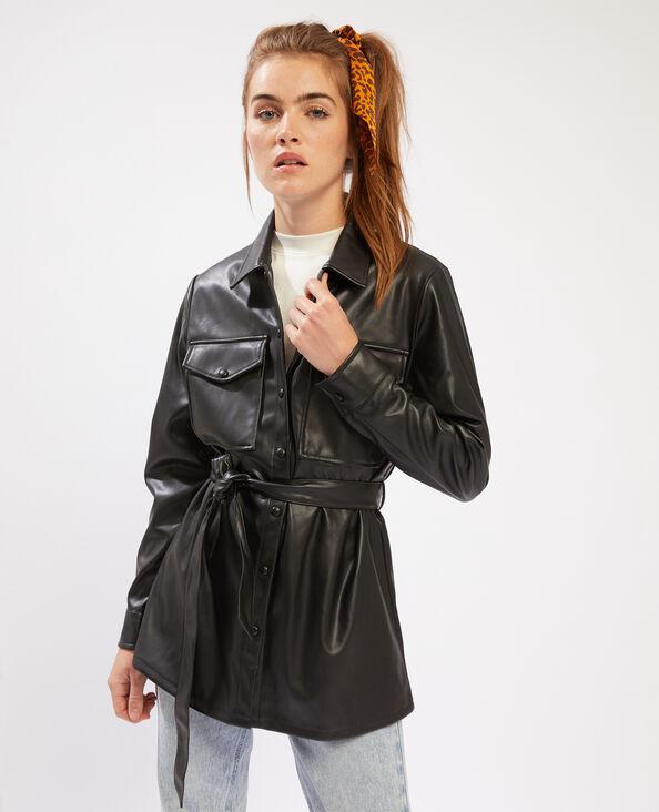 Giacca camicia da annodare in similpelle nero - Pimkie