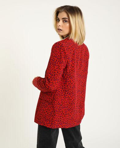 Giacca blazer leopardata rosso