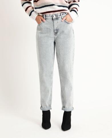Jeans dritto mid waist blu delavato