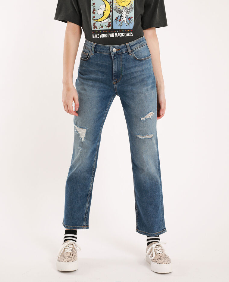 Jeans straight mid waist blu denim