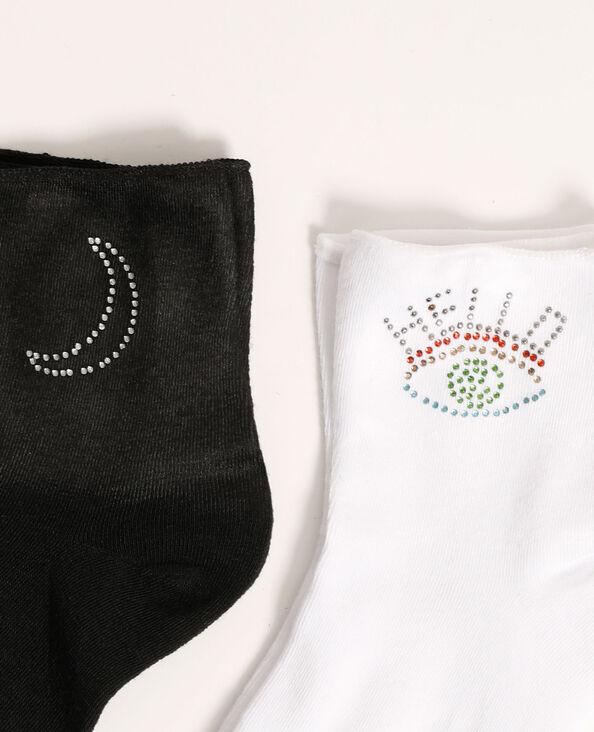 Lotto di 2 paia di calzini con strass nero - Pimkie