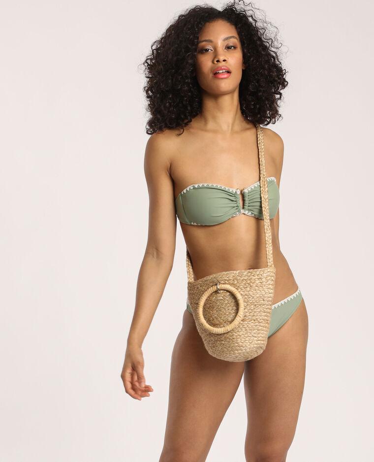 Pezzo sotto del bikini con ricami verde