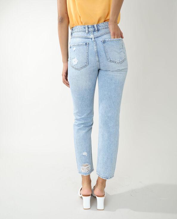 Jeans straight high waist destroy blu chiaro - Pimkie