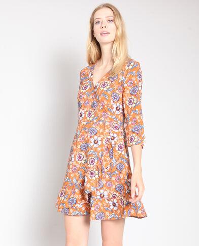 Vestito a fiori bruno