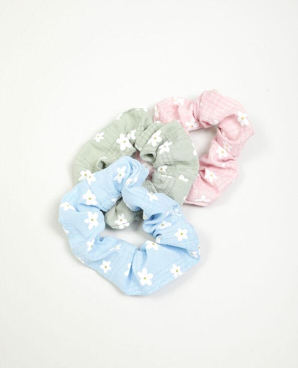 Lotto di 3 elastici a fiori blu - Pimkie
