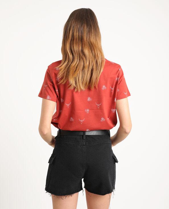 T-shirt stampata mattone