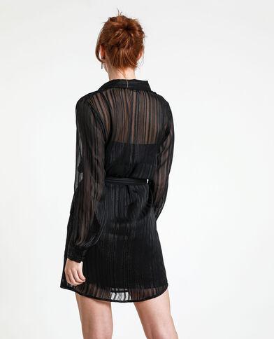 Camicia lunga a righe nero