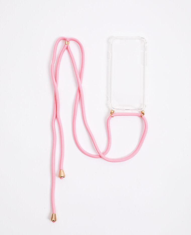 Custodia con cordino compatibile con iPhone rosa - Pimkie
