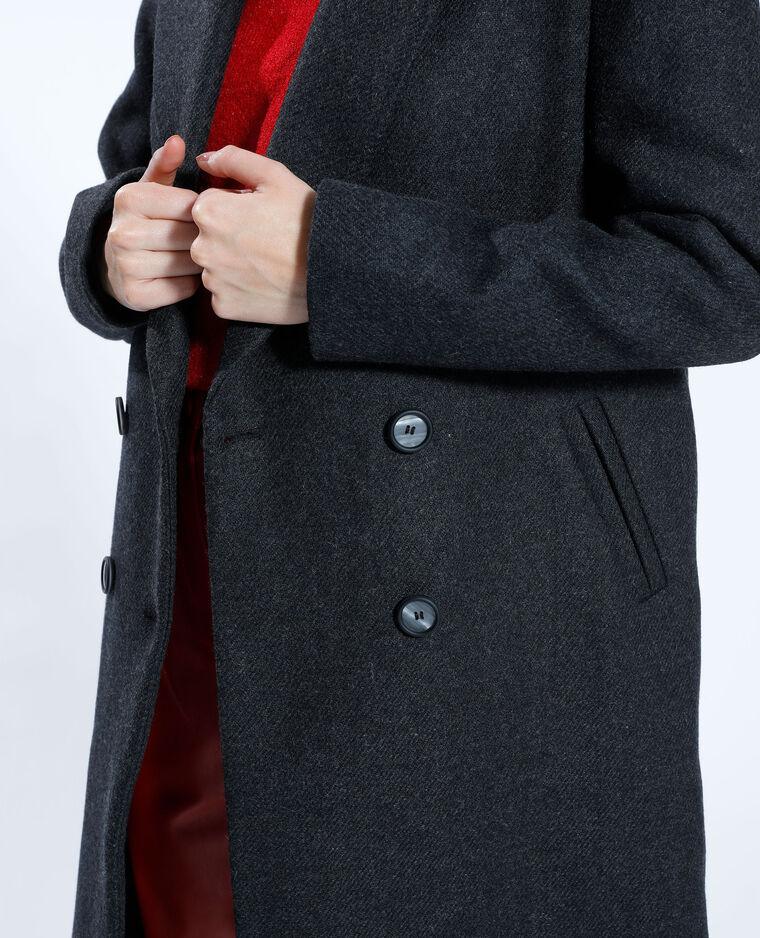 Cappotto lungo con lana nero - Pimkie