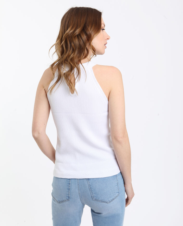 Top cropped a coste bianco