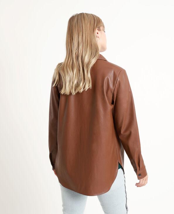 Camicia in finta pelle cioccolato