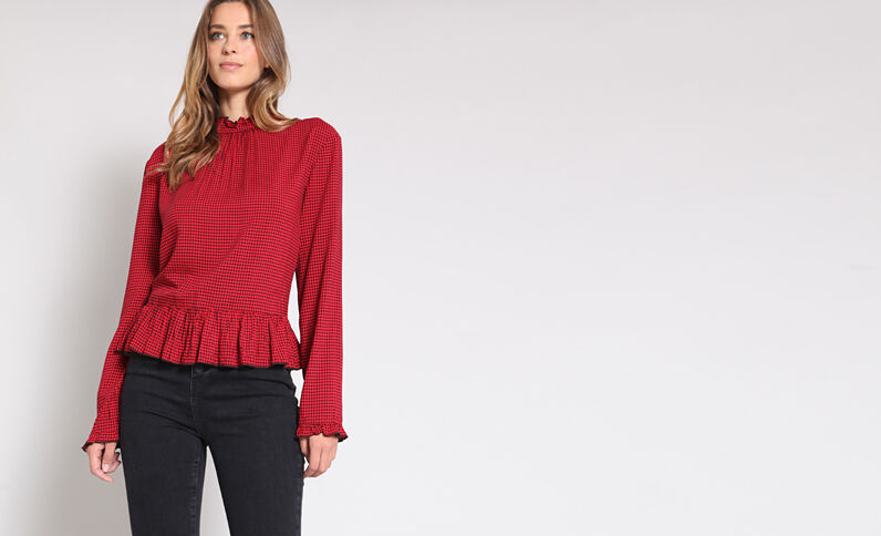 Blusa stampata rosso