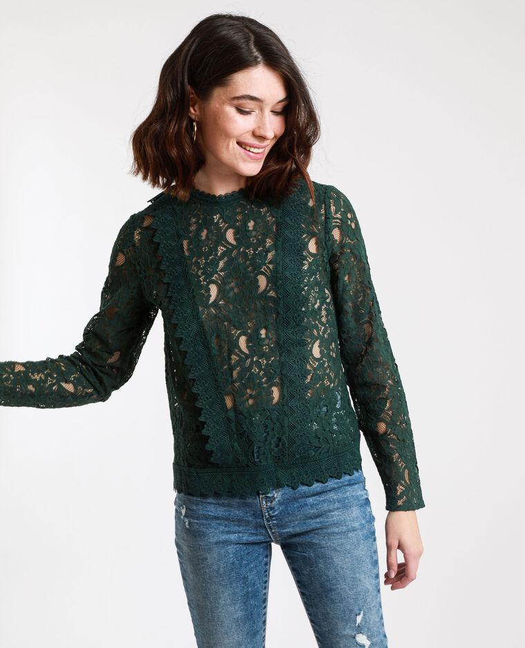 Camicia ricamata verde