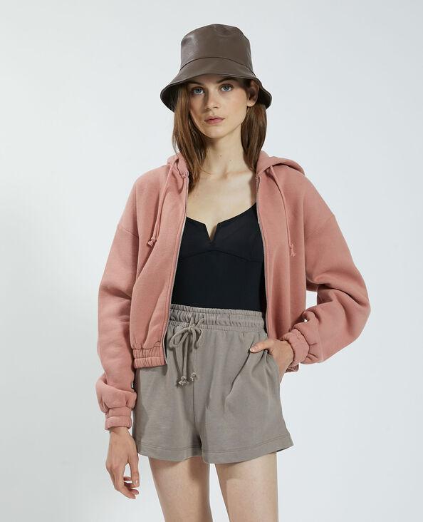 Felpa con cappuccio e zip in tessuto felpato rose palo - Pimkie