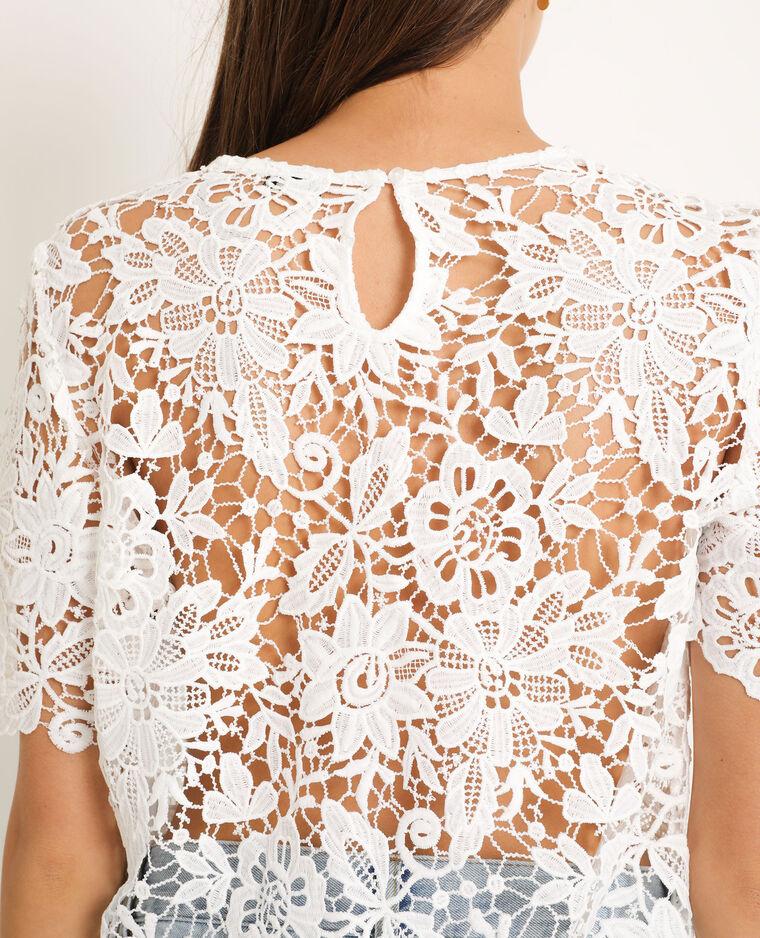 T-shirt in pizzo bianco sporco - Pimkie