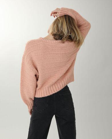 Pull traforato rosa