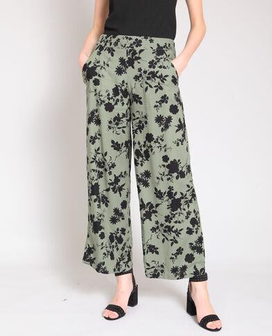 Pantalone largo a fiori kaki
