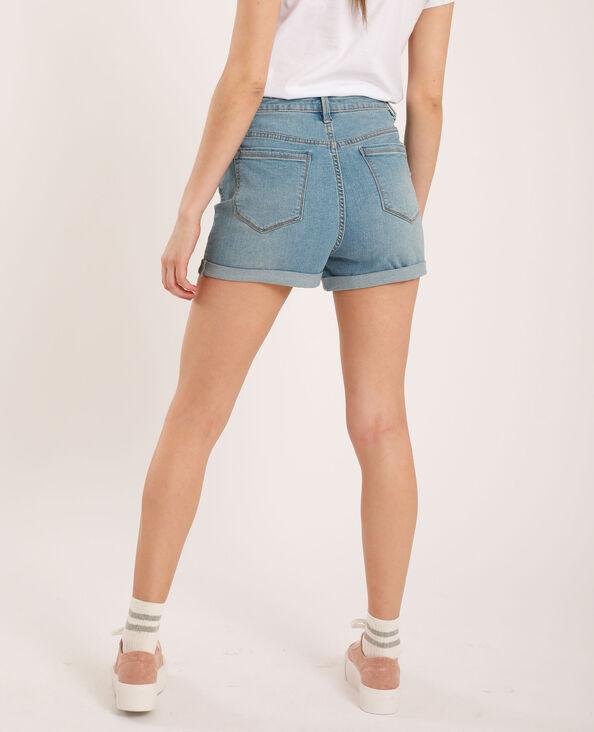 Short di jeans high waist blu delavato