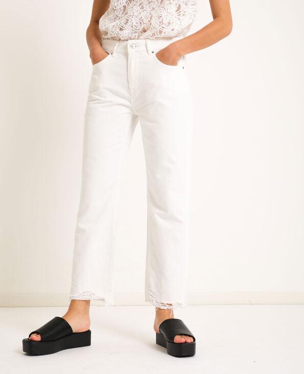 Jeans straight high waist bianco