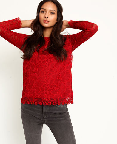 T-shirt in pizzo rosso