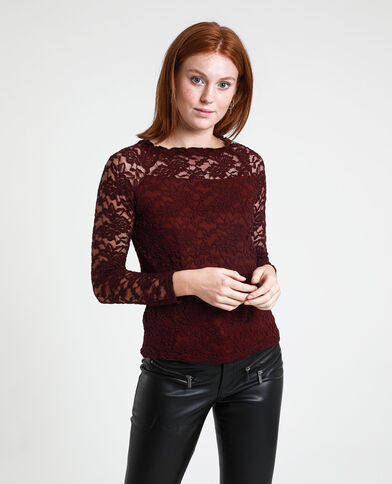 Top in pizzo bordeaux