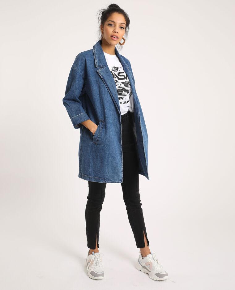 Cappotto di jeans lungo blu denim
