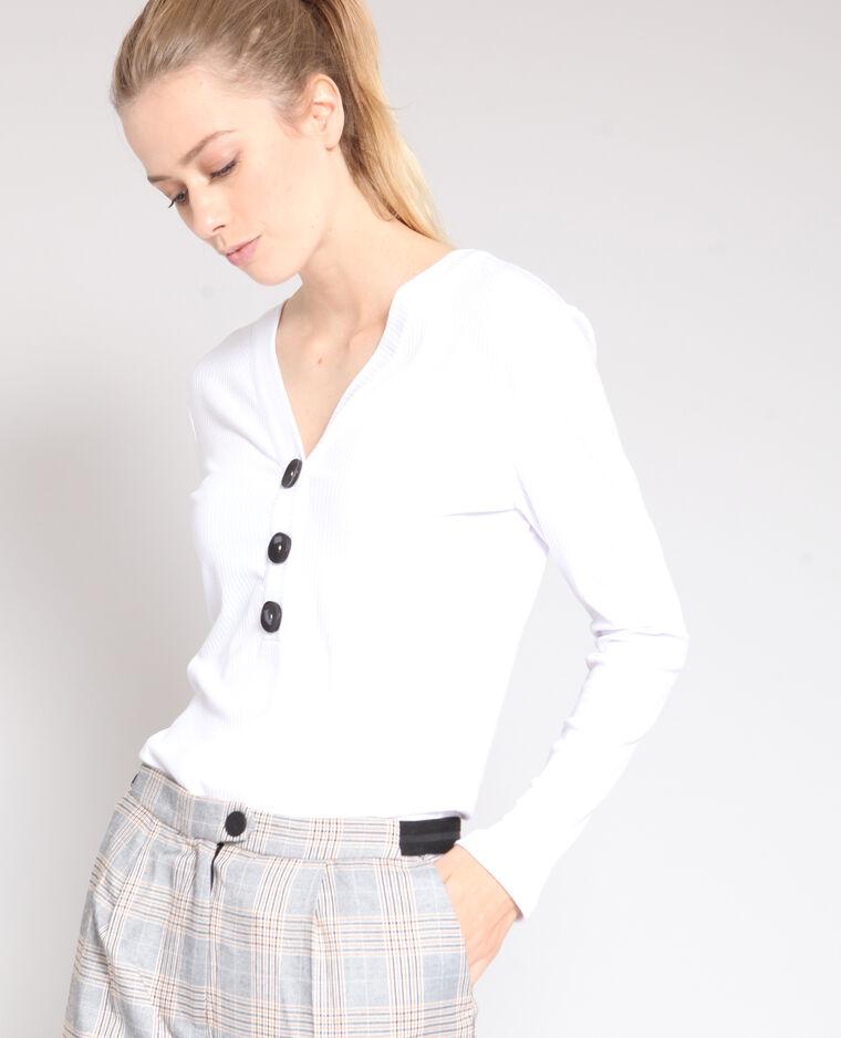 T-shirt con bottoni bianco