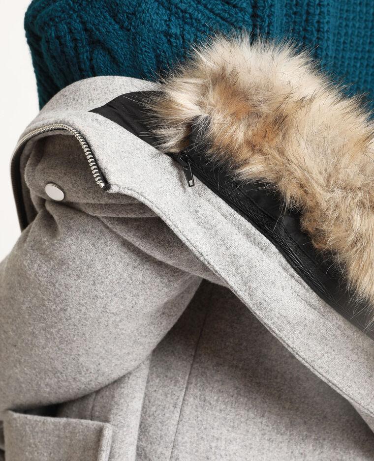 Cappotto con cappuccio grigio chiné