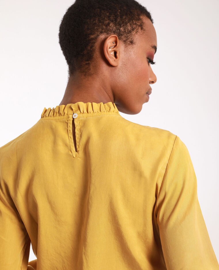 Blusa con volant giallo mostarda