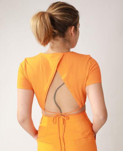 T-shirt cropped da annodare arancio - Pimkie