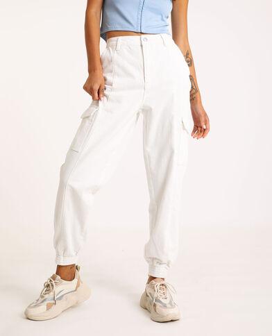Jeans cargo écru