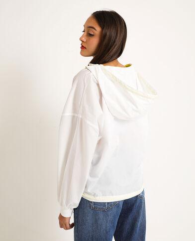 Giacca a vento con cappuccio bianco
