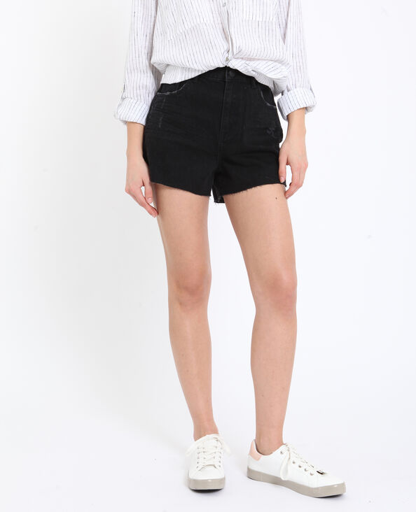 Short in jeans high waist nero