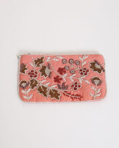 Piccola pochette ricamata rosa