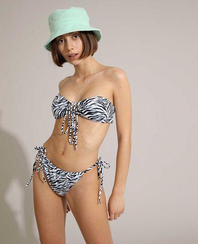 Slip di costume da bagno convertibile con motivo zebrato bianco - Pimkie