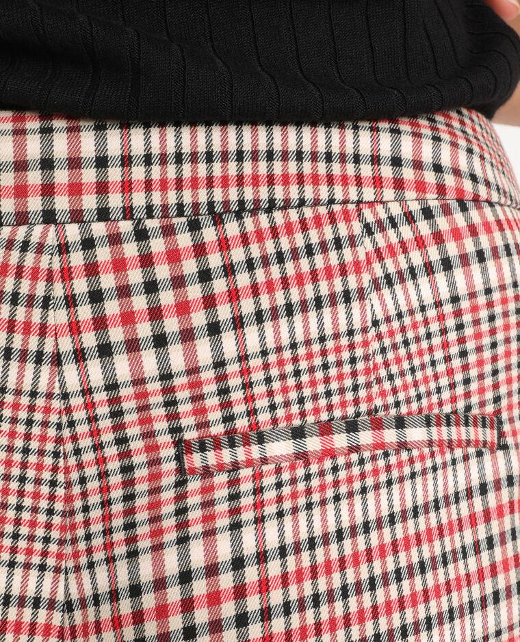 Pantalone a sigaretta a quadri beige + rosso