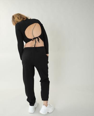 T-shirt a coste con schiena scoperta nero