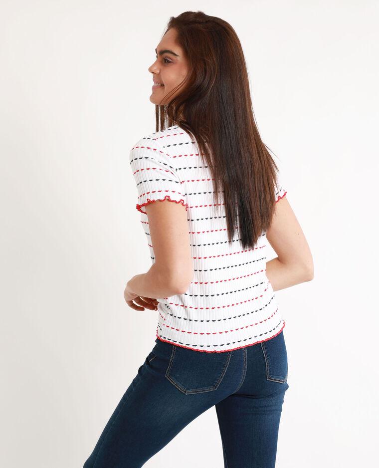 T-shirt in maglia a coste bianco