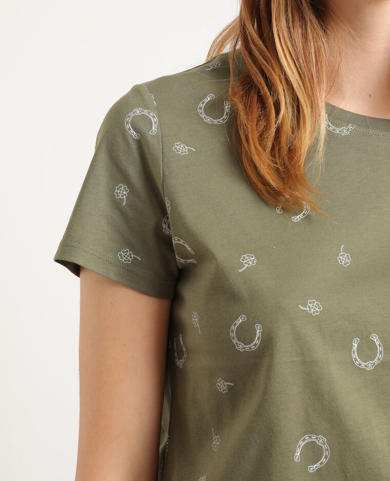 T-shirt stampata kaki
