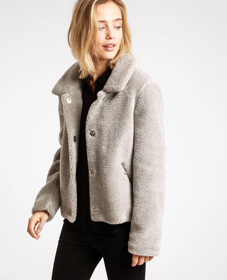 Giacca in pelliccia ecologica grigio