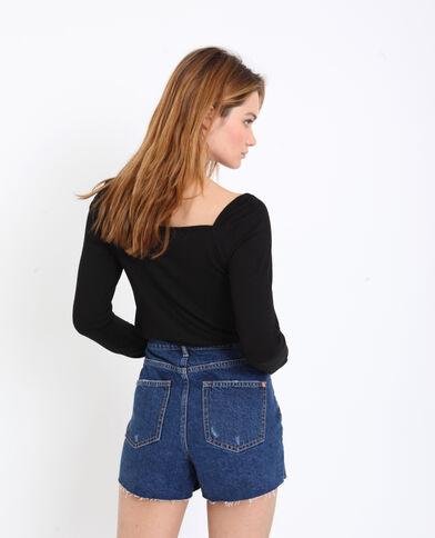 T-shirt collo quadrato nero