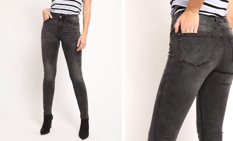 Jeans push up mid waist grigio antracite