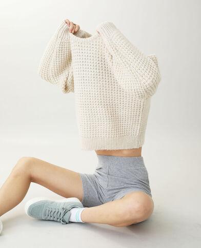 Pull in maglia grossa beige