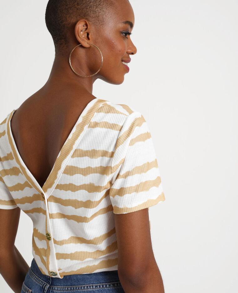 T-shirt abbottonata effetto tie & dye bianco sporco