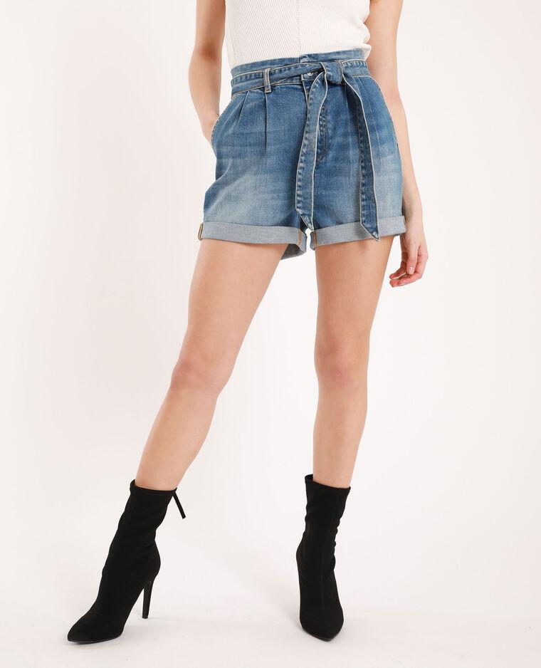 Short di jeans a vita alta blu denim