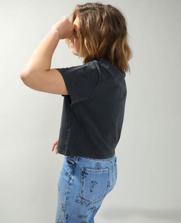 T-shirt cropped Topolino grigio antracite