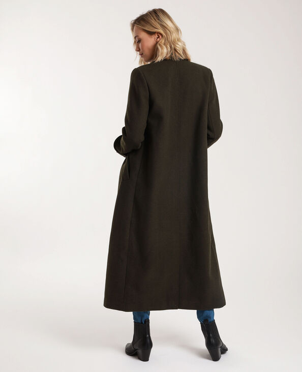 Cappotto lungo con lana kaki